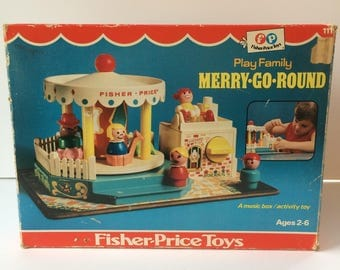 Vintage Fisher Price Play Family Little People #111 Merry-Go-Round (Box Only)