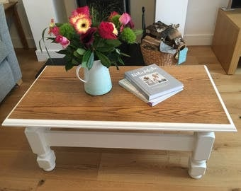 Vintage Solid Oak Coffee Table - Farrow & Ball - Farmhouse
