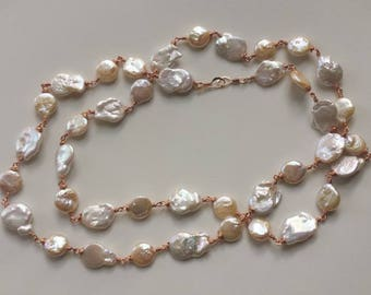 Handcrafted unique jewelry piece, River pearl necklace,Natural stone.