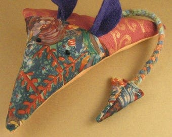 Catnip and Valerian Mouse Cat Toy. Huge! Fabric. Red/ Orange/ Purple/ Multi-colour. Cats Love It!