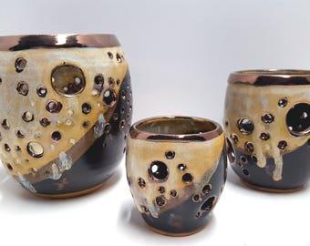Pottery candle  illuminators set of 3