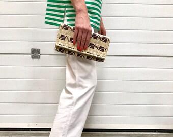 Natural bamboo handbag / Vintage bag / Woven bamboo pouch / 1990s