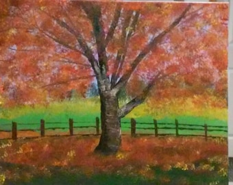 Fall Tree Oil Painting on Gallery Canvas