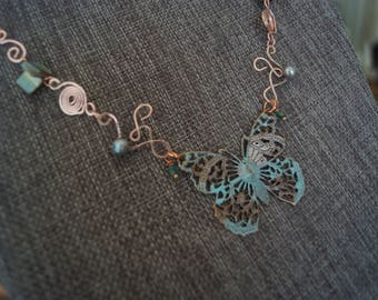 Butterfly Wire-Wrapped Necklace