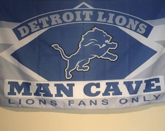 Detroit Lions Man Cave Wall Flag