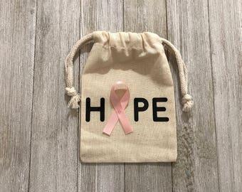 Hope-Cancer Muslin Bag-Black-Gold-Fundraising- Raise Money-Donating-Breast Cancer