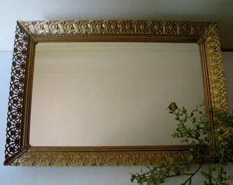 Vintage Vanity Mirror Tray Gold Filigree Mid Century large Rectangle #2