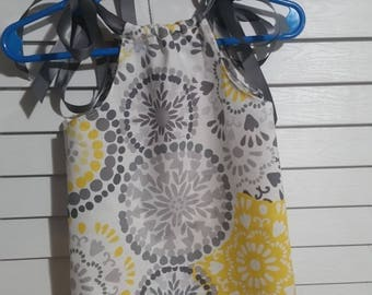 Pillow case Dress/ Ribbon Dress/ White /grey/yellow