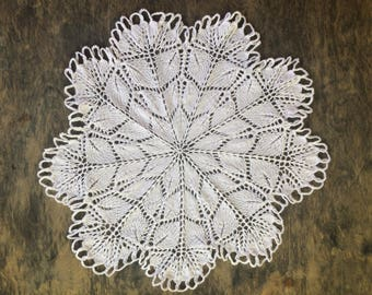 Round Knitted Doily 35 cm