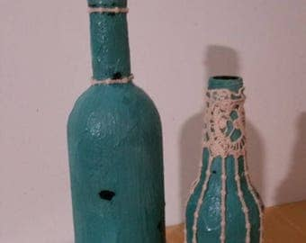 Blue painted bottles/home decor /distress wine bottles/gift