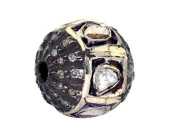 Victorian style Rose cut Pave diamond large polki diamond 12mm bead Ball jewelry making / jewelry finding/ bracelets and necklace - PJBE2050