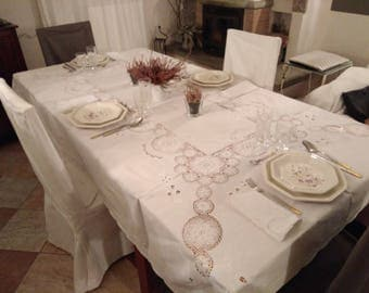 Vintage white embroidered tablecloth