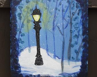 Original Canvas Painting - Narnian Lampost at Night