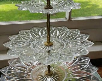 Vintage 60s Federal Glass 3-Tier Petal Design Tidbit Dish