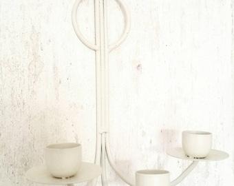 Vintage Primitive Warm White Candle Sconce. Vintage White Candelabra.