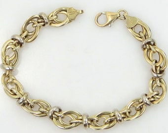 Pretty Sterling Silver with Gold Wash Multi Links Bracelet