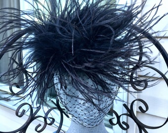 Really Great Vintage 1950's Black OSTRICH FEATHER Fascinator Hat, 50s WHIMSIE Net Hat, Hedda Harper Hat