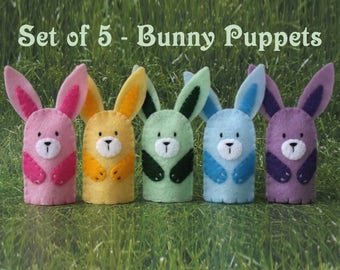 Pastel Bunny Finger Puppets - Set of 5 Easter Bunnies - Pastel Bunnies Pink Yellow Green Blue Purple Bunny Rabbit Puppets