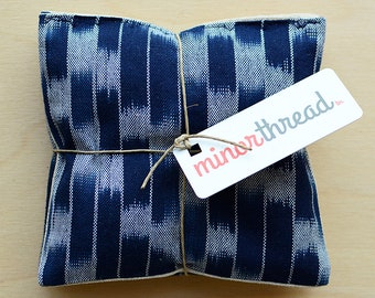 Organic Lavender Sachets in Navy Ikat & Natural Linen Fabric Set of 2 Lavender Scented Pillows Natural Home