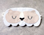 MERLION Sleep Mask, Eye Mask, Sleeping Mask, Sleep Mask, White Lion, Lion Eye Mask, Sleeping Lion, Lion Mask, Eyemask, BEIGE FACE