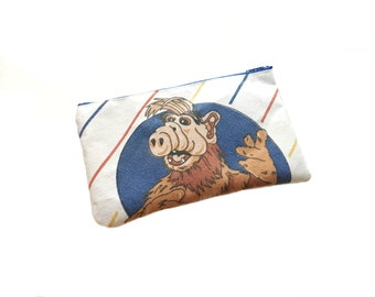 Alf 80s Tv Show Vintage Fabric- Zipper Pouch/Phone Bag/ Makeup Bag/ Zipper Wallet