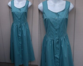 Vintage 80s Cotton Country Dress in Dusty Teal Blue / Sundress // Wedding bridesmaid frock / Size Med ~ Sz 10 - 12