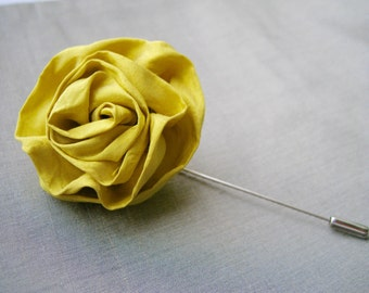 Silk flower lapel pin, silk lapel flower, wedding lapel pin, yellow, rose boutonniere, silk, mens boutonniere, stick pin