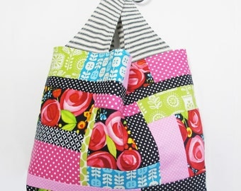 Patchwork Tote Bag | Reusable Reversible Machine Washable All Purpose Tote to Use as a Market Grocery Shopping Project Bag