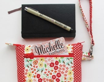 Zipper Pouch with Wristlet Strap | Zip top pouch to use for small journals, as a phone wallet, or a mini wristlet handbag clutch.
