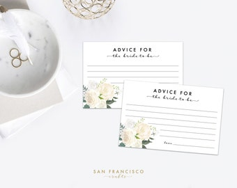 Advice for the Bride Cards, Bridal Shower Insert - white, gold roses, 4''x6'', Brynne Collection, Printable  - INSTANT DOWNLOAD PDF File