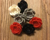 Rose Buttons - Red, Grey, White, Black