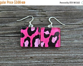 CYBER SALE REDUCED Pink and Black Animal Print Glass Tile Earrings