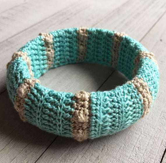 Wide Bangle Bracelet Boho Crochet Bracelet Hippie Bracelet Festival Jewelry Gypsy Mothers Day Gift for Her Birthday Gift - Aqua and Brown