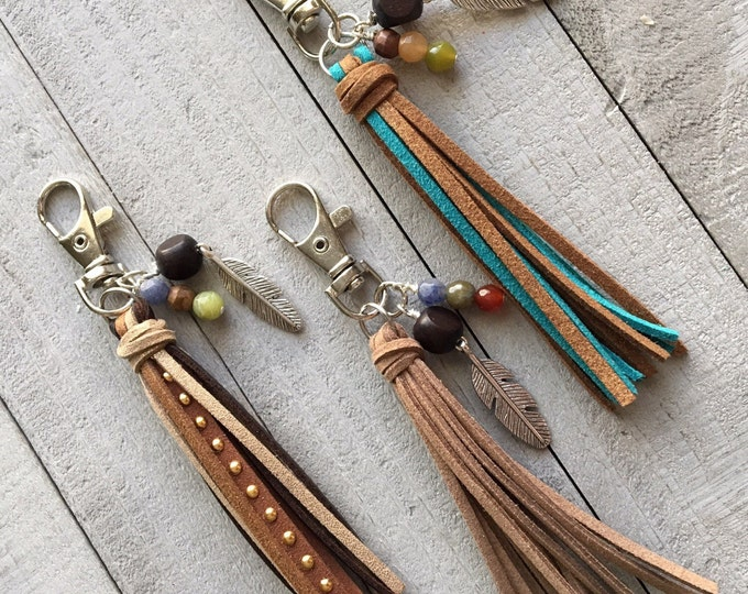 "Featured listing image: Boho Bag Tassel Keychain Planner Backback Zipper Pull - 3.5"" Mini Tassel Choose Your Color Vegan Suede Hippie Gypsy Gift for Her"