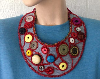 Beaded button bib necklace, bead embroidered collar, statement necklace, boho chic, one of a kind beaded collar, beaded button textile art