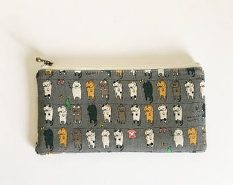 Flat  zipper pouch  -Cats on clothesline(grey)