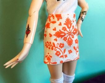 Neon Orange Folk Print Mod Mini Skirt for Blythe
