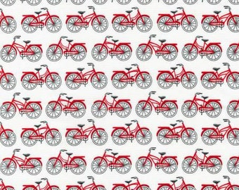Fat quarter Red Bicycles - Robert Kaufman, Mary Lake-Thompson Everyday Favorites cotton quilt fabric