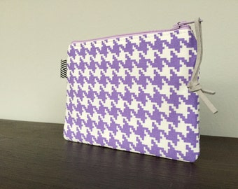Mini Zip Pouch - Purple Houndstooth