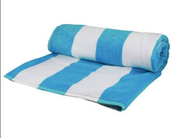 Monogrammed Soft Plush Beach Towel Cabana Stripe Personalized Pool Summer Beach Travel