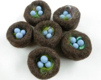 Felted wool bird nest with three eggs Nature table set Waldorf inspired ready to ship