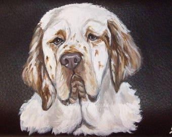 Clumber Spaniel Dog Custom hand Painted Leather Checkbook Cover Checkbook Holder