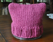 Large Dark Pink Pussy Hat for Women's March on Washington - Dark Pink Hat - Kitty Hat - Knit Hat - Pink Pussyhat