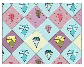 Print: Literal Gems, Room Decor, Wall Artwork, Wall Art, Repeating Pattern, Faceted Gems, Illustration