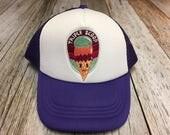 "Girls Toddler/Kid Purple Trucker Hat with ""Triple ..."