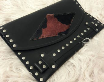 Black Leather Studded Clutch with Rust Patch