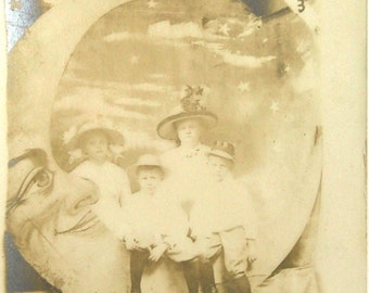 Paper Moon Postcard Mother with Children Twin Boys Little Girl RPPC Souvenir Real Photo 1910