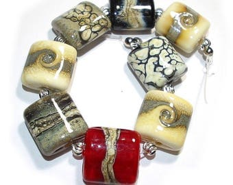 Handmade Glass Lampwork Beads, Ivory Nugget Mix
