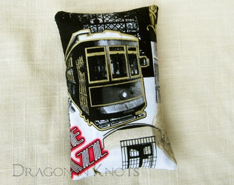 Streetcar Portable Tissue Holder - New Orleans Trolley Red, Black and White Fabric Tissue Packet Cover - Purse Accessory, Lousiana, NOLA