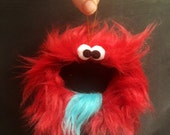 Gift Tag Furry Monster Chalkboard Ornament, reusable place card, teacher gift, wine red, goatee